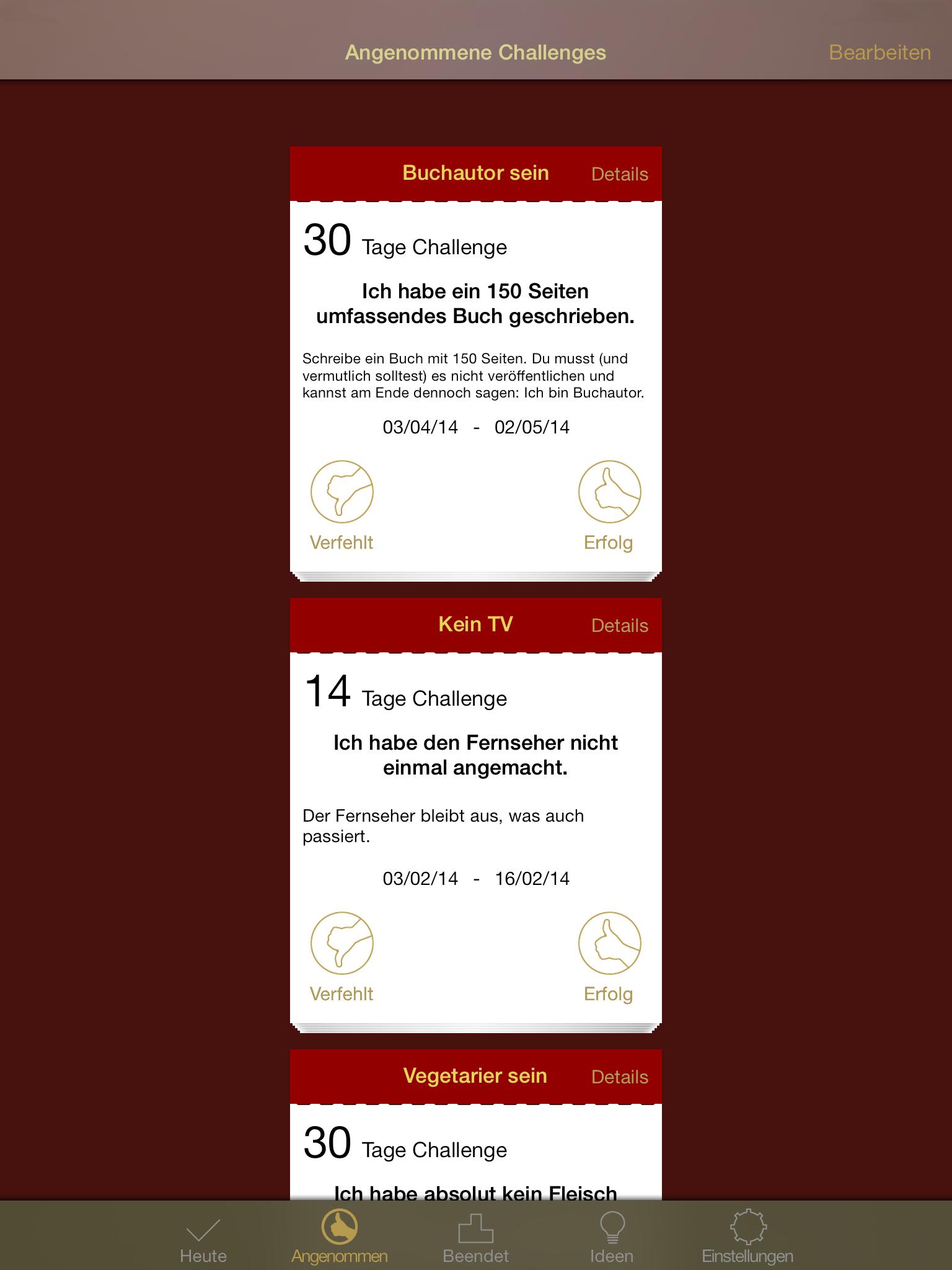 nDay Challenges – Ändere Dein Leben für n Tage - ipad2